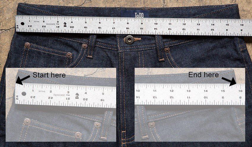 Determine how high on your waist or hips you like to wear jeans; measure at this point. Keep the tape comfortably loose and parallel to the floor while you measure the full circumference of your torso. Make sure to measure your body, not over your clothes.