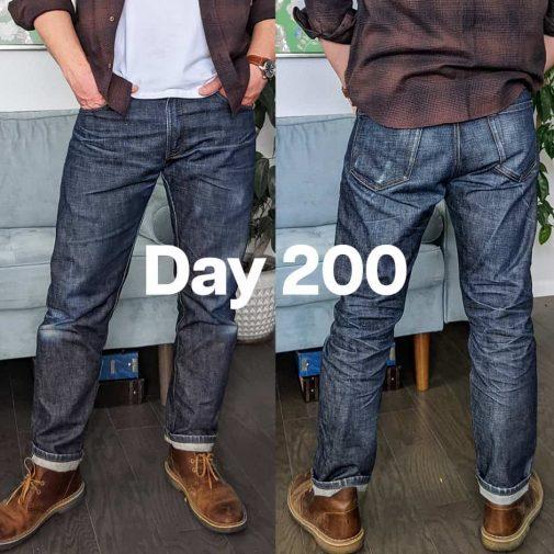 A raw jean after 200 wears