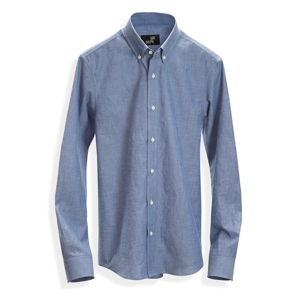 Natural chambray shirt blue mens clothing usa for Usa made work shirts