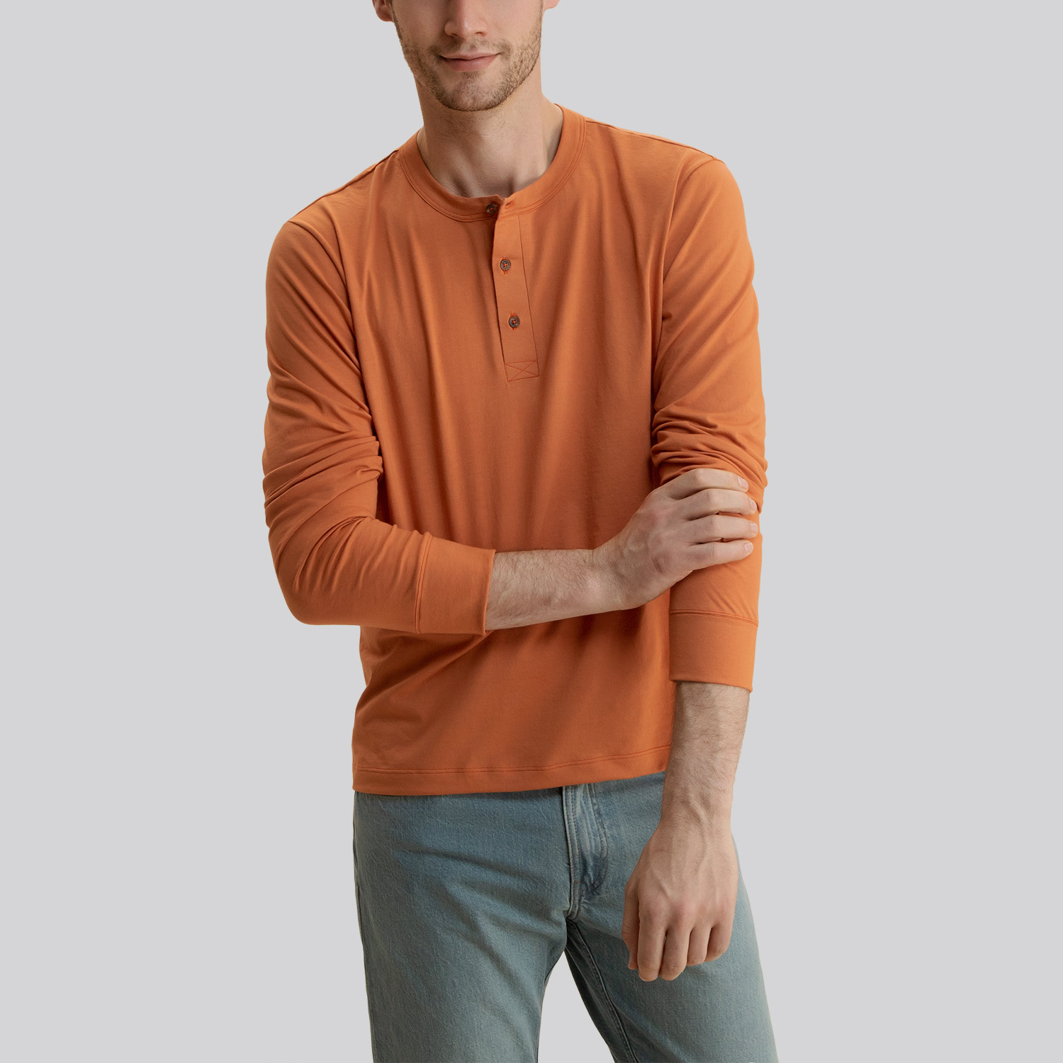 d8f90e044def Long Sleeve Henley Burnt Orange