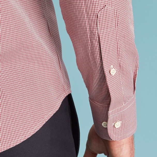 Red Mini Gingham Poplin Shirt - Button Down