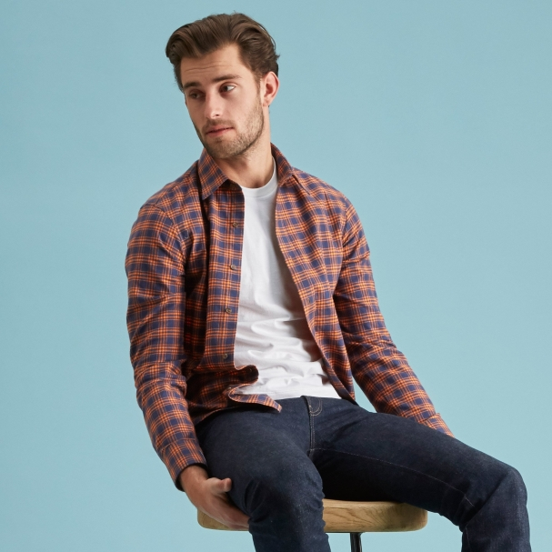 Autumn Carpenter Flannel Shirt - Point Collar
