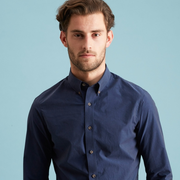 Paper Poplin Shirt Navy - Button Down