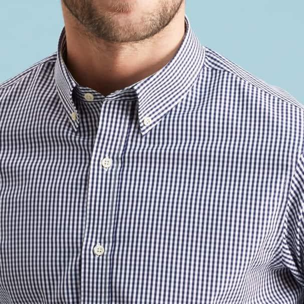 Box Check Navy Shirt - Made in USA