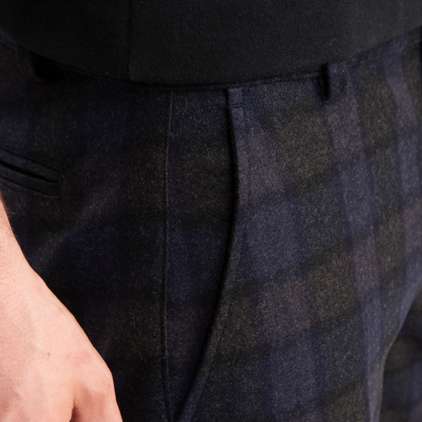 Flannel Wool Trouser Blue Plaid