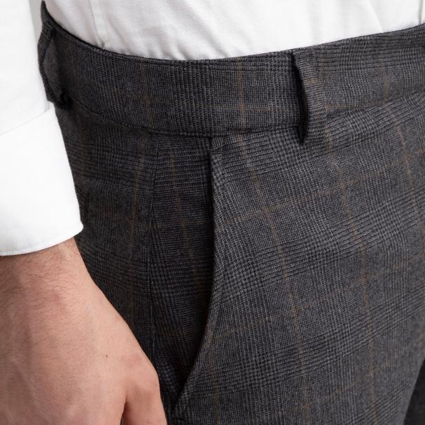 Wool Trouser Medium Grey Plaid