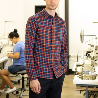 Factory Clean-Out / Bright Plaid Casual Shirt