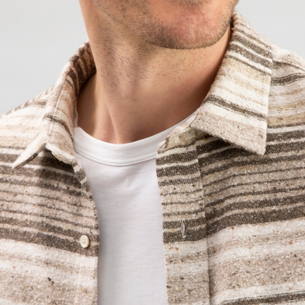 Baja Cotton Overshirt Brown Stripe