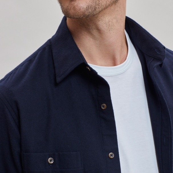 Brushed Cotton Overshirt Navy