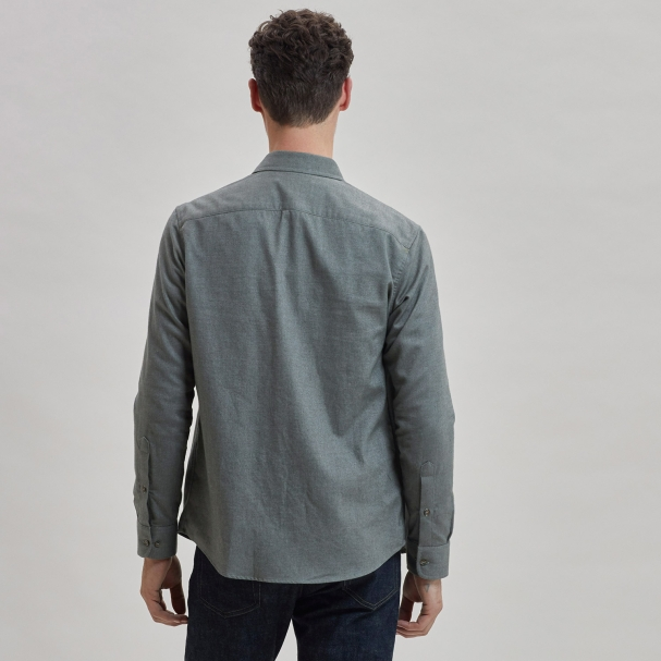 Brushed Cotton Overshirt Olive