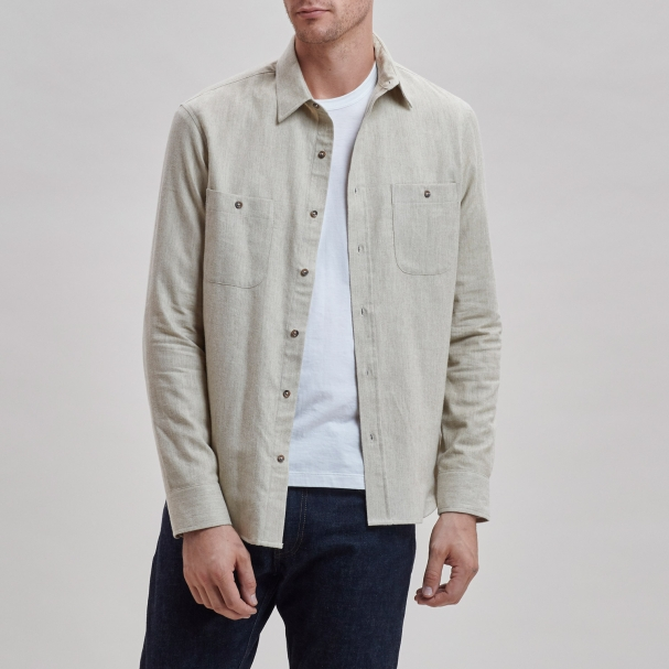 Brushed Cotton Overshirt Tan