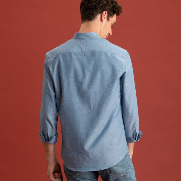 Band Collar Chambray Shirt Western Blue