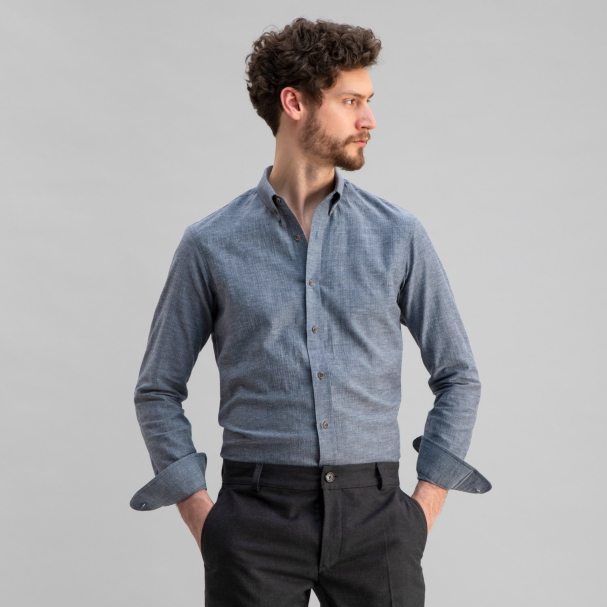 Japanese Soft Cotton Herringbone Shirt Blue
