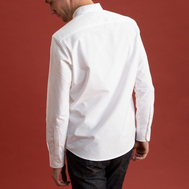Band Collar Oxford Shirt White