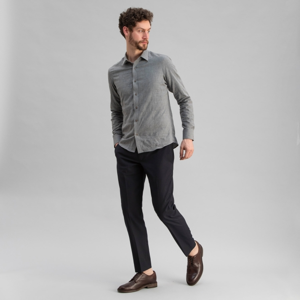 Japanese Soft Cotton Herringbone Shirt Grey