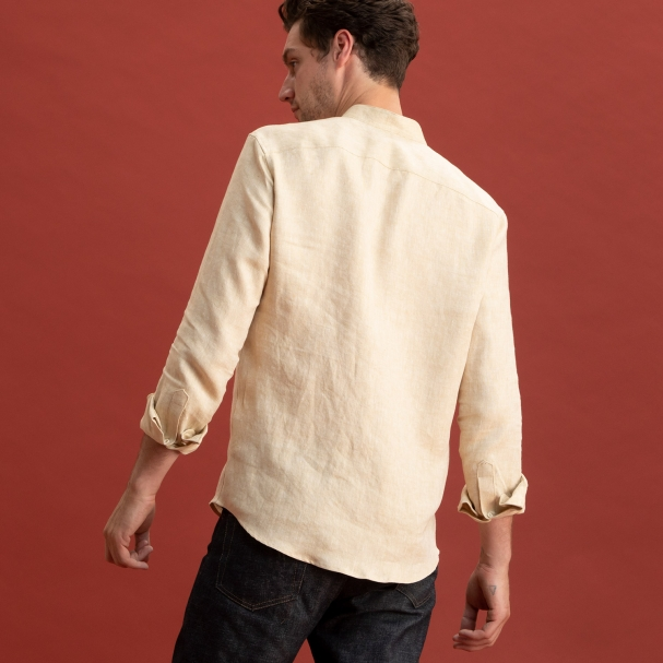 Band Collar Linen Shirt Tan