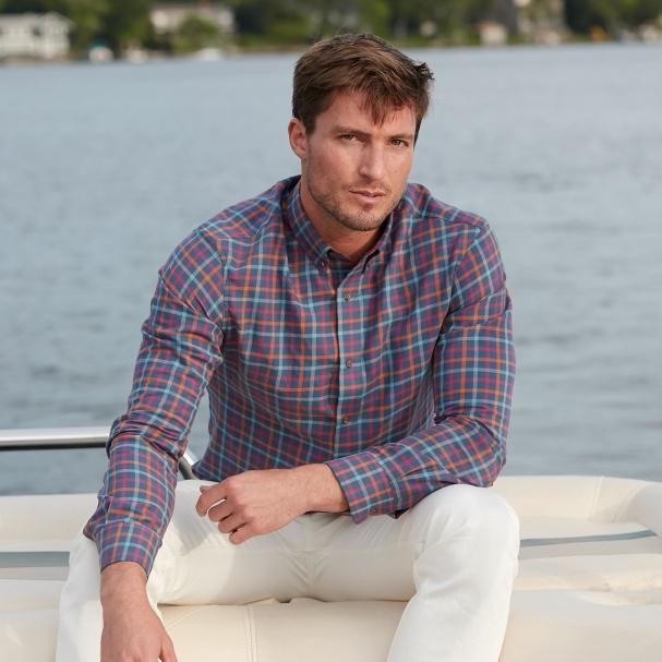 Sunwashed Navy Plaid Shirt - Todd Shelton