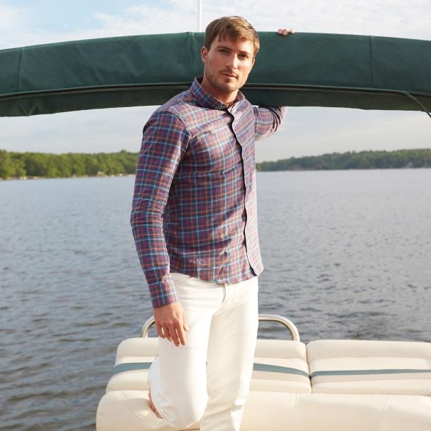Sunwashed Navy Plaid Shirt