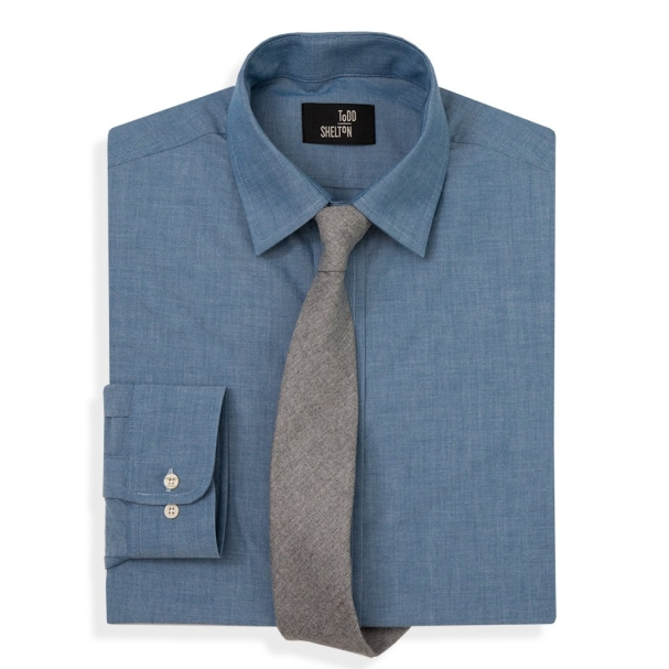 Chambray Shirt Point Collar