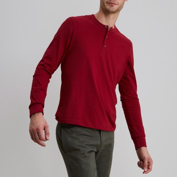 Long Sleeve Henley Burgundy