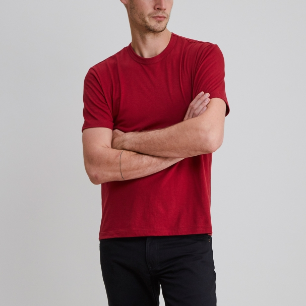 Short Sleeve Crew Burgundy