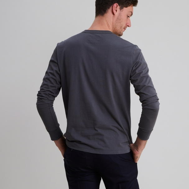 Long Sleeve Henley Charcoal