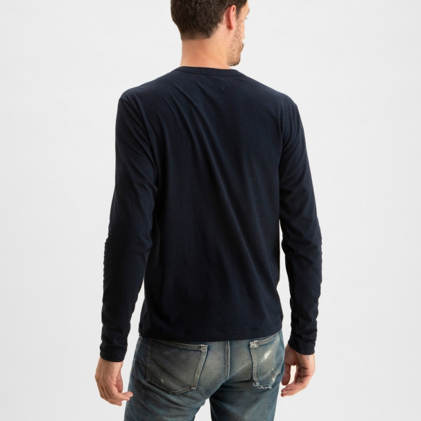 Long Sleeve Henley Heather Navy