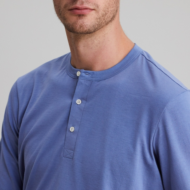 Long Sleeve Henley Lake Blue