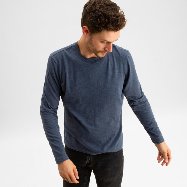 Long Sleeve Crew Heather Blue