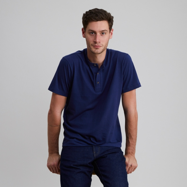 Short Sleeve Henley Navy