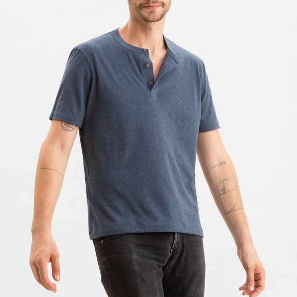 Short Sleeve Henley Heather Blue