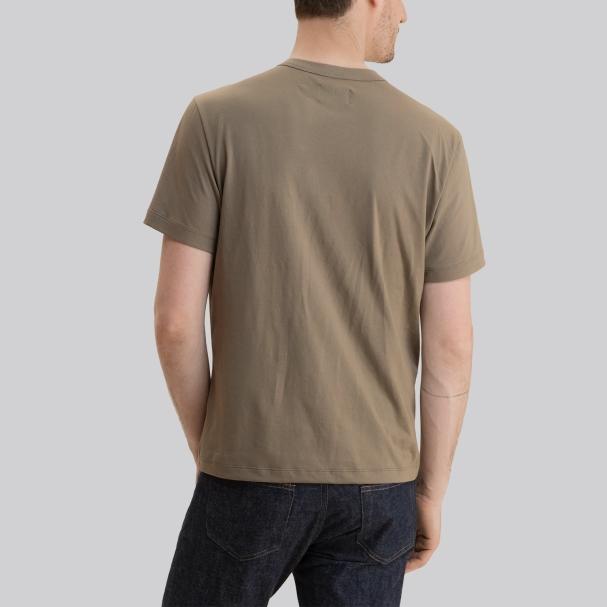 Short Sleeve Henley Military Green