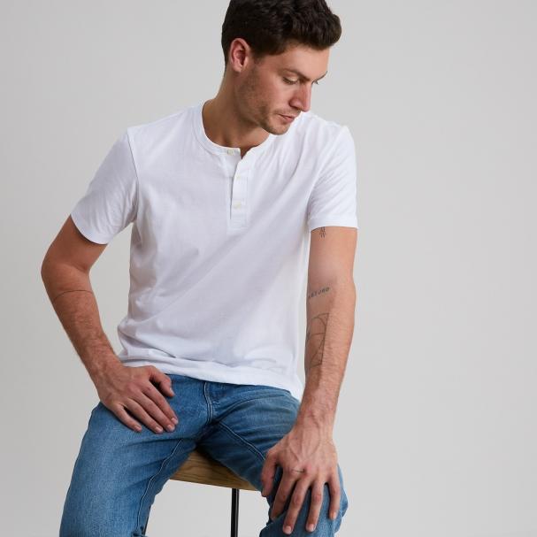 Short Sleeve Henley White