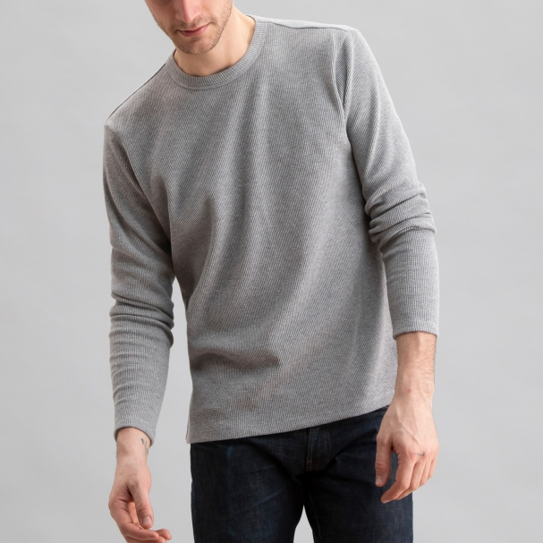 Thermal Waffle Crew Heather Grey