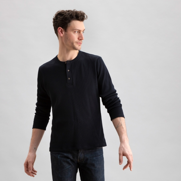 Thermal Waffle Henley Black