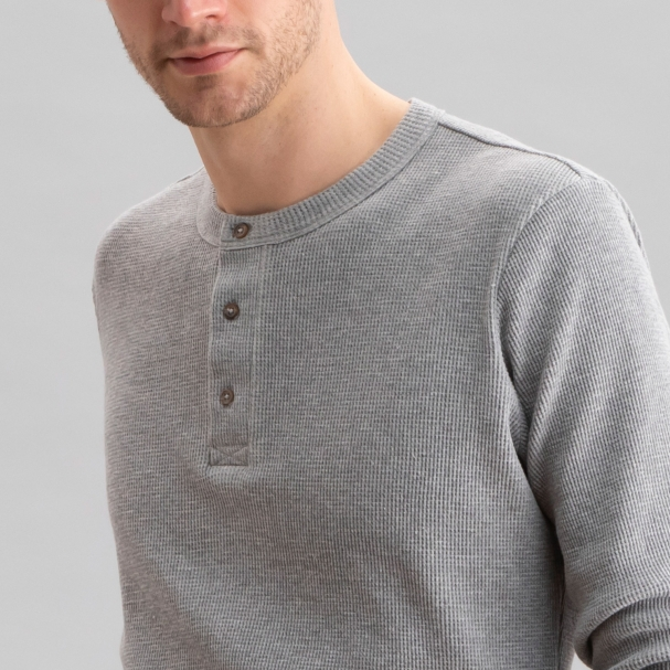 Thermal Waffle Henley Heather Grey
