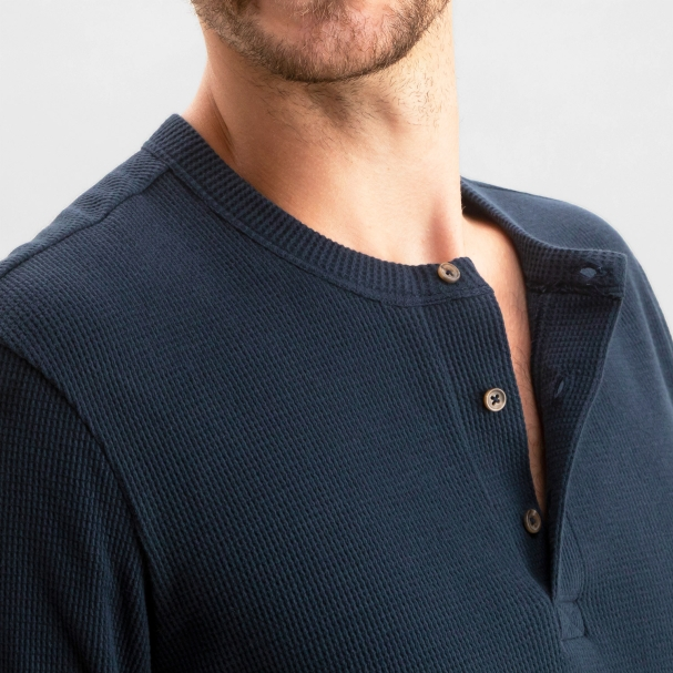 Thermal Waffle Henley Navy