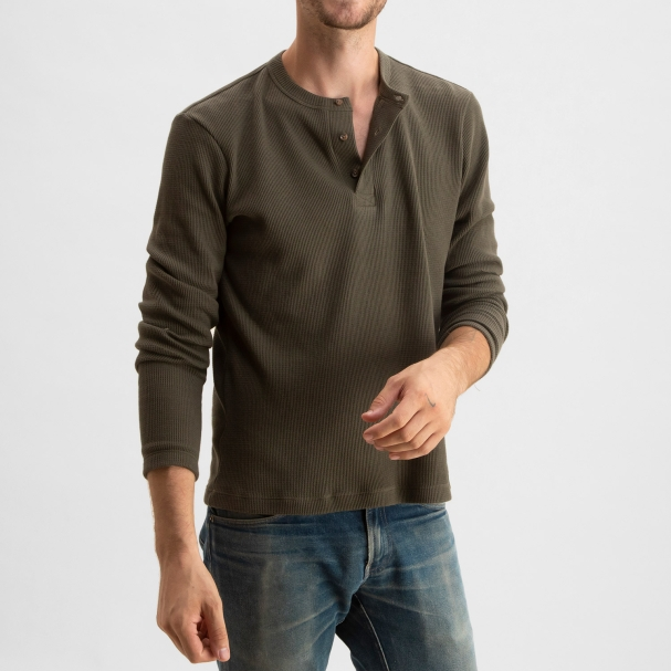 Thermal Waffle Henley Olive