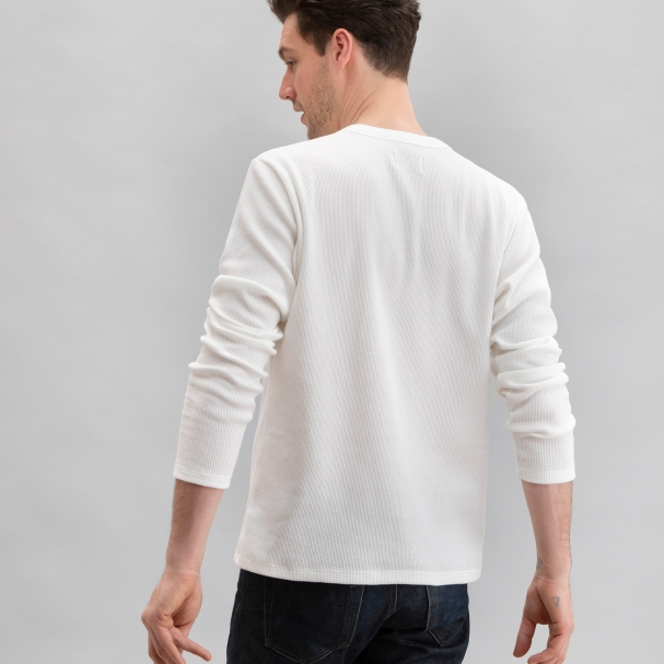 Thermal Waffle Henley White