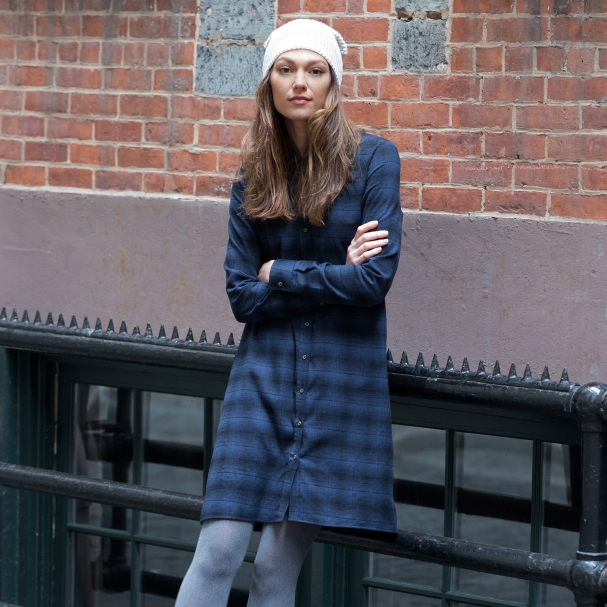 Roswell Plaid Flannel Shirtdress