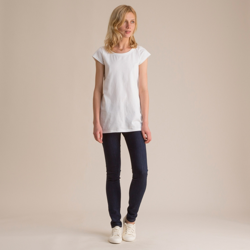 Cap Sleeve A-line T-shirt - White Todd Shelton