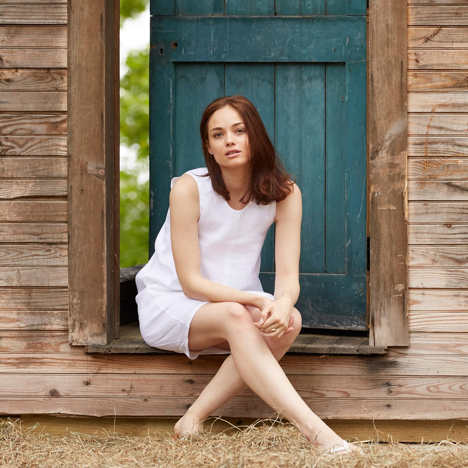 White Linen Dress Todd Shelton Women's